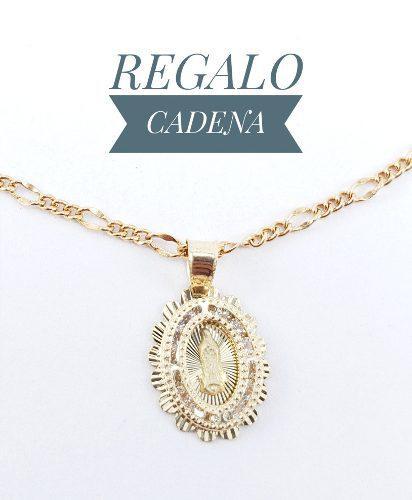 Hermosa Medalla Virgen Bautizo Oro 10k Sólido Y Cadena