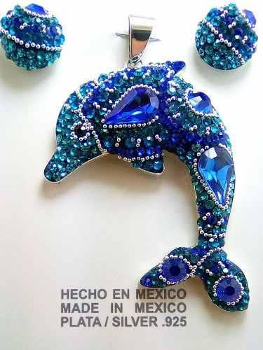 Hermoso Delfin En Plata Fina.950 Y Cristales Swarovski !!!