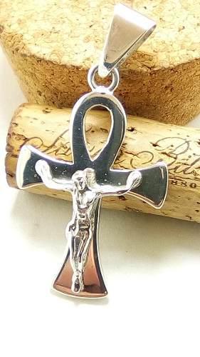 Hermoso Dije Cruz Egipcia Con Cristo Solida En Plata Ley.925