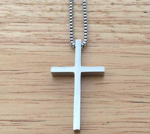 Jesucristo Cruz Crucifijo Dije Collar Acero Inox Unisex J34