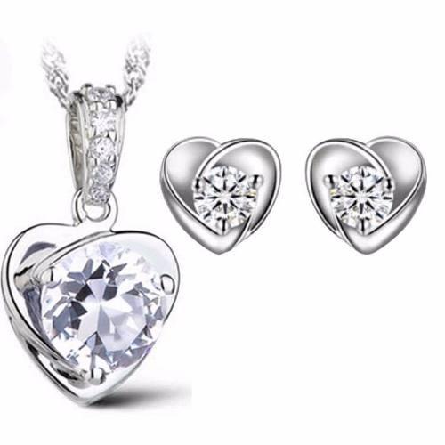 Juego Collar Y Aretes De Plata 925 Corazón Zirconia Mujer