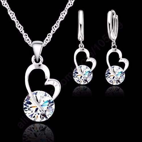 Juego Collar Y Aretes Plata Ley.925 Corazón Mujer Zirconia