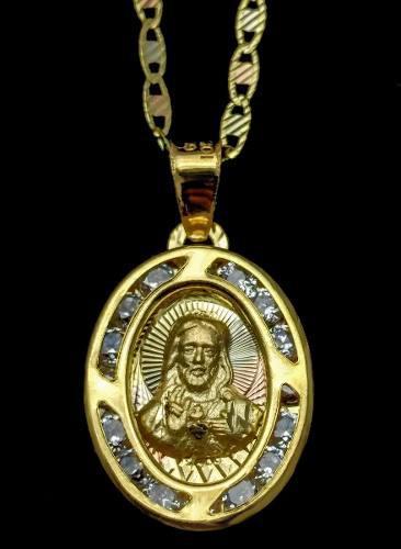 Medalla De Oro Bautizo Oro 10 Kilates Sagrado Corazon Jv0070