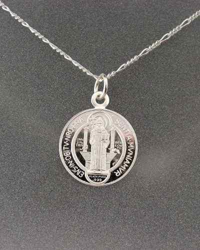 Medalla De San Benito Grande En Plata Fina 0.999 Vv4