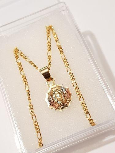 Medalla De Virgen De Guadalupe 1.5 Cm Con Cadena Oro Laminad