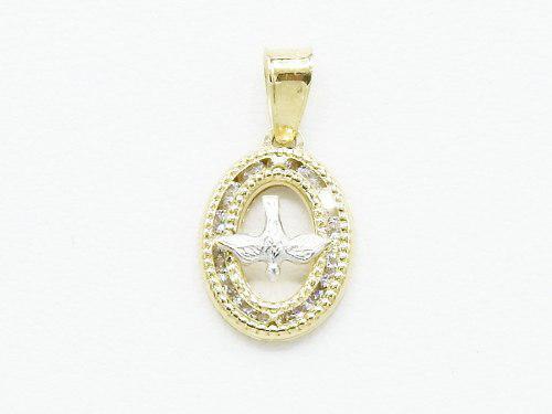 Medalla Espiritu Santo Oro Amarillo Blanco 10k Zirconia