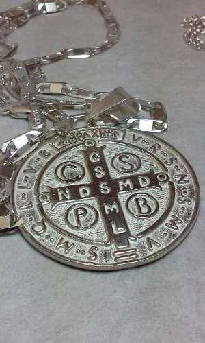 Medalla Grande De San Benito En Plata Pura.925 Mide 3½ Cms