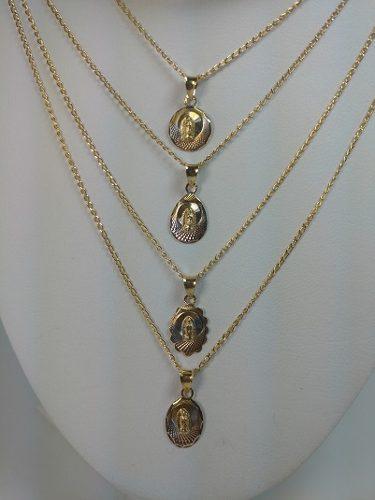 Medalla Para Bautizo De 1 Cm De Virgen En Oro Laminado