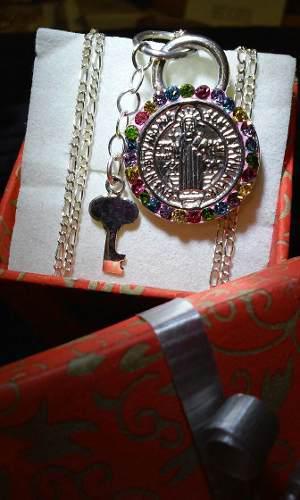 Medalla San Benito En Plata Fina Ley.925 Incluye Cadena