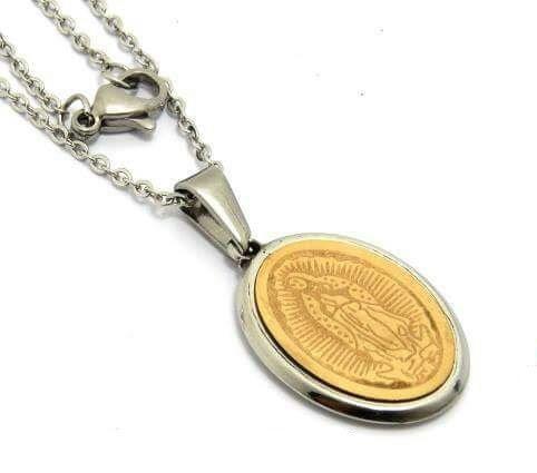 Medalla Virgen De Guadalupe De Acero Inoxidable Con Cadena