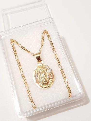Medalla Virgen De Guadalupe Ovalada De Oro Laminado 1.3 Cm