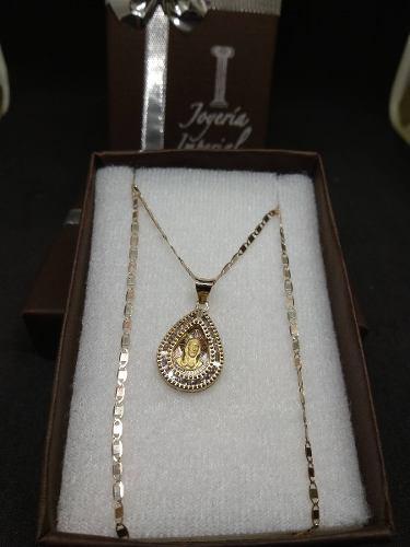 Medalla Y Cadena Oro Solido 10k Cristo Bautizo