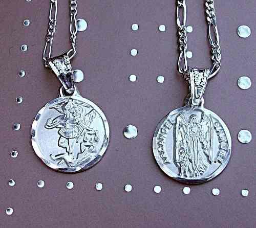 Par De Cadena Y Dije Medalla Arcángel Miguel Plata Ley 925