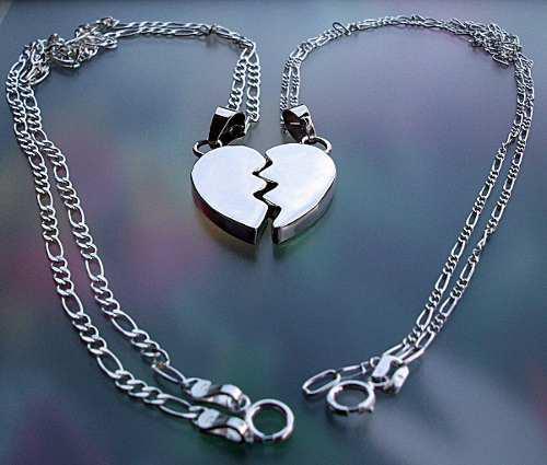 Parejas Cadena Dije 3d Corazón Partido Personalizado Plata