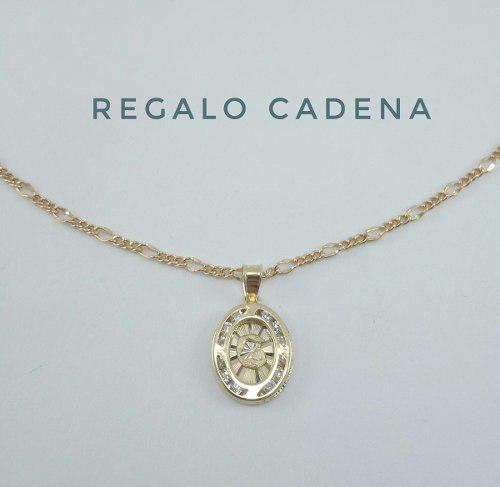 Preciosa Medalla Bautizo Oro Sólido 10k Y Cadena Cartier