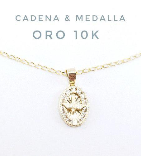 Preciosa Medalla Espíritu Santo Bautizo Y Cadena De Oro 10k