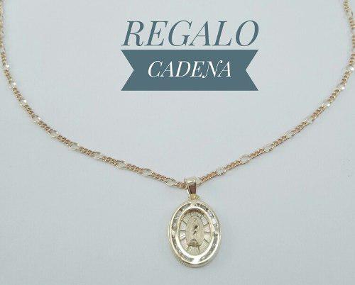 Preciosa Medalla Virgen Guadalupe Bautizo Oro 10k Y Cadena