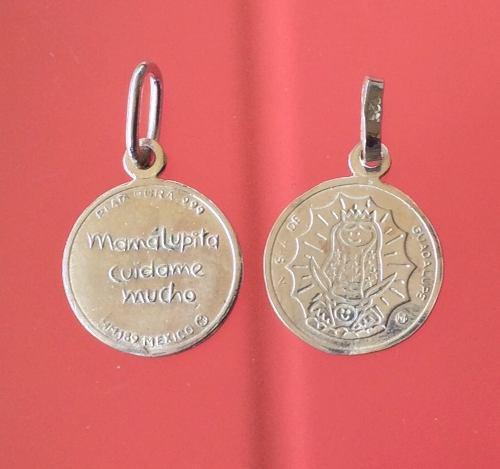 Protección Cadena Y Dije Medalla Virgencita Guadalupe Plata