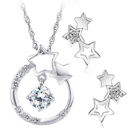 Regalo Collar Estrella Navidad Swarovski Element + Aretes