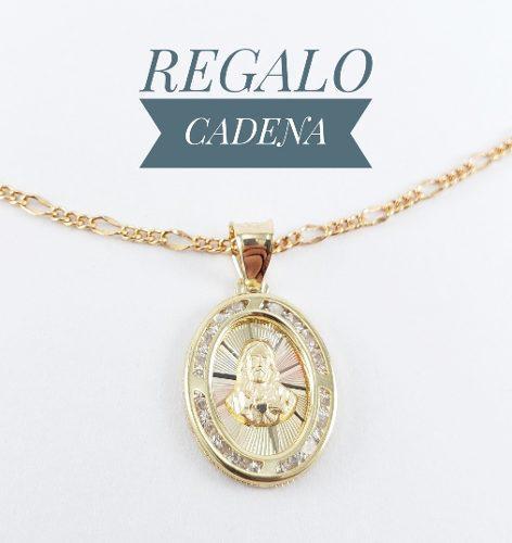 Sagrado Corazón Medalla Primera Comunión Oro 10k Y Cadena