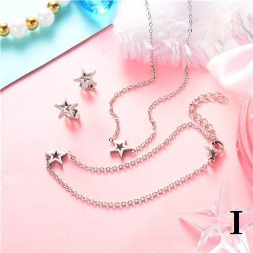 Set Collar + Pulsera + Aretes Estrella Acero 316l