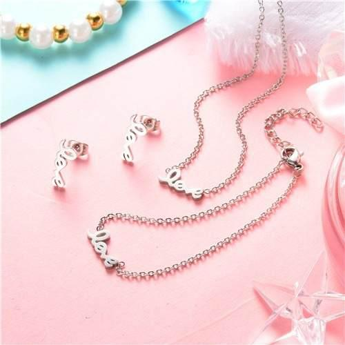 Set Collar + Pulsera + Aretes Love Acero 316l