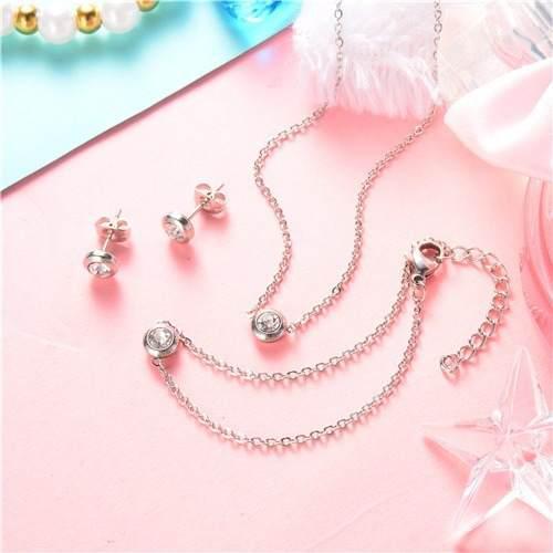 Set Collar + Pulsera + Aretes Piedra Cristal Acero 316l