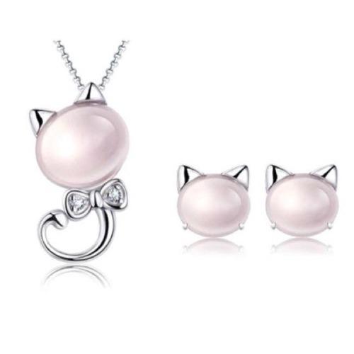 Set Collar Y Aretes Gato Plata Ley.925 Perla Rosa Zirconias