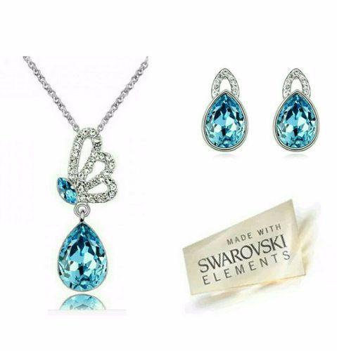 Set Collar Y Aretes Mariposa Cristal Swarovski Regalo