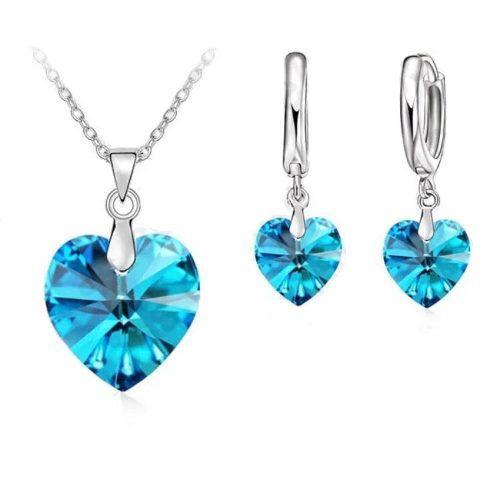 Set Collar Y Aretes Plata.925 Azul Corazón Regalo Cadena