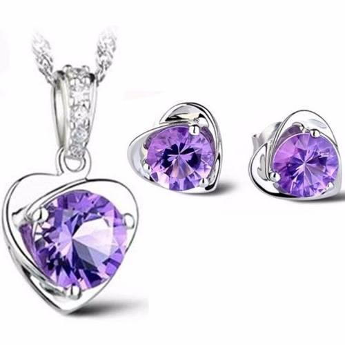 Set Collar Y Aretes Plata 925 Corazón Mujer Zirconia