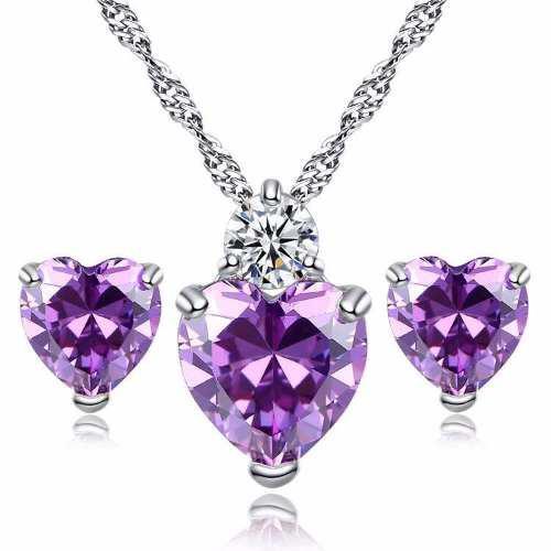 Set Collar Y Aretes Plata.925 Zirconia Púrpura Corazón