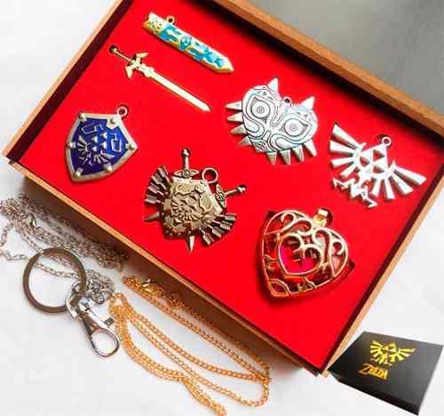 Zelda Collar Set De 6 Envio Gratis Dije Leyenda De Trifuerza