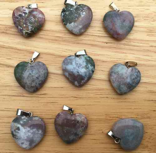 gata India Piedra Natural Corazón Dije Unisex Tamaño
