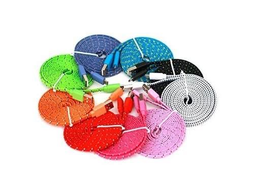 Cable Usb V8 Reforzado Nylon 80 Cm Plano Mayoreo Colores
