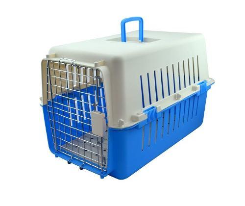 Jaula Transportadora Kennel Iata Azul Mediana 60x40x39cm