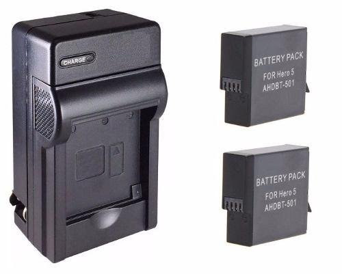 Kit 1 Cargador + 2 Baterías Ahdbt-501 Gopro Hero 5 6 Y 7