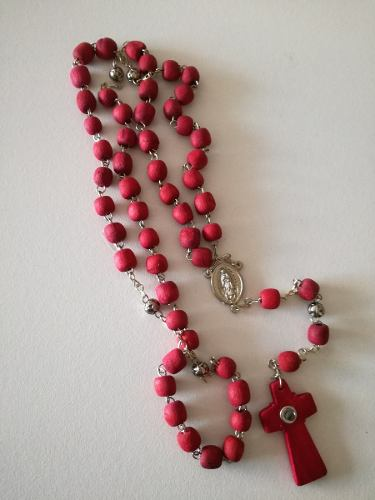Collar Rosario Palo De Rosa Con Lente (aromático)