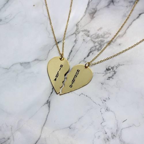 Collares Corazón Partido Regalo Para Parejas Chapa Oro 22k,