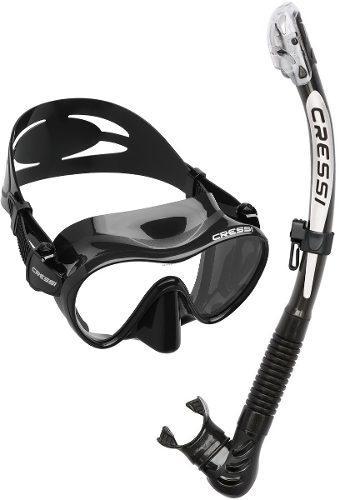 Combo Visor Cressi F1 + Snorkel Alpha Ultra Dry Apnea Buceo