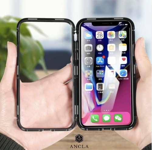 Funda Magnética De Metal Con Vidrio 9h Apple Iphone X