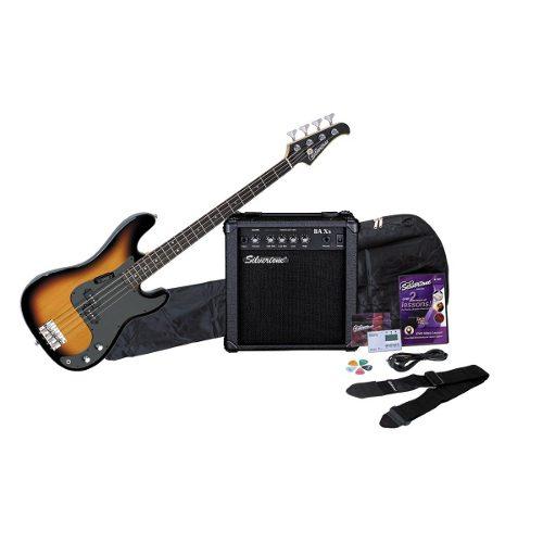 Guitarra Bajo Silvertone Lb11 Con Amplificador Correa Y Mas