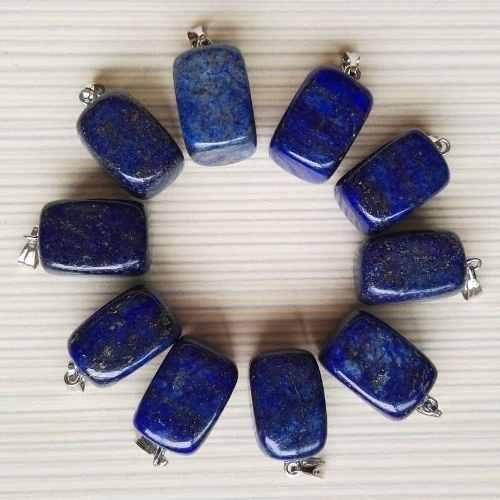 Lapislázuli Piedra Natural Dije Rectangular Unisex