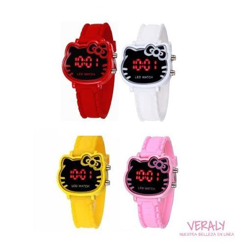 Reloj De Luz Led Hello Kitty Diseño Kawai Varios Colores