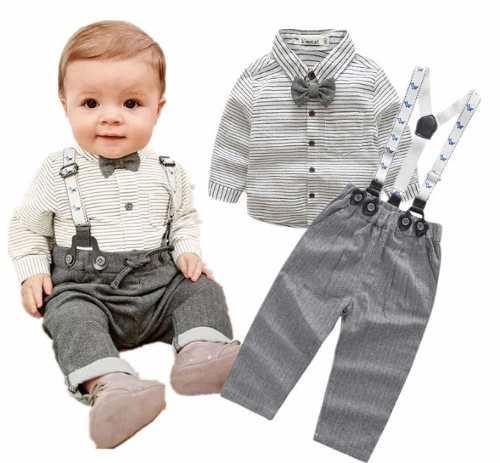 Conjunto Traje Formal Bebé Niño Camisa Moño Tirante