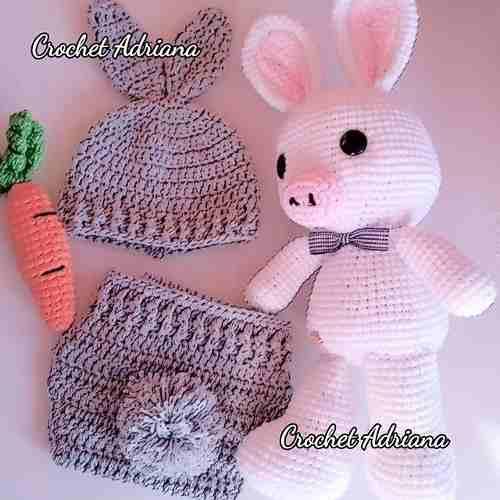 Gorro Y Calzoncito Pañalero Conejo Crochet Tejido