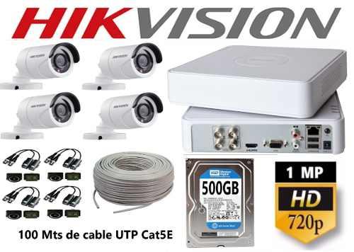 Kit Video Vigilancia 4 Cámaras Hikvisision Hd 720p Utp