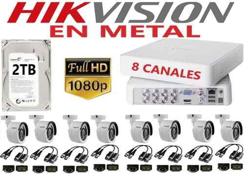 Kit Video Vigilancia 8 Cámaras Baluns Hd p / 2mp 2tb