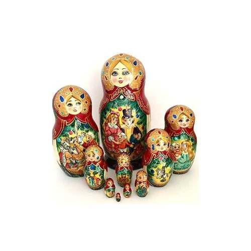 Cascanueces Muñeca De Anidación Rusa Pintada A Mano 10