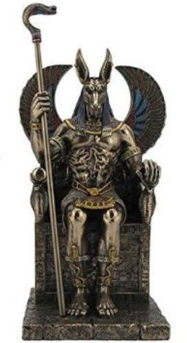 Dios Anubis En Trono Acabado En Bronce De 27cm